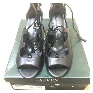 Ralph Lauren Womens Hasel Leather Open Toe